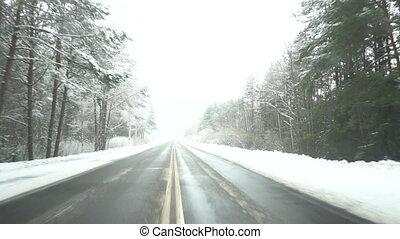 beau, hiver, route, neigeux