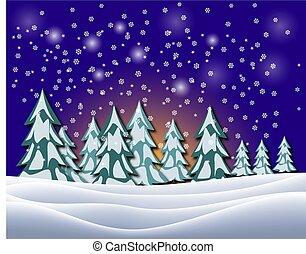 beau, hiver, sky., illustration, vecteur, nuit, paysage