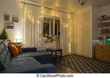 beau, holdiay, décoré, salle