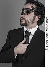 beau, homme affaires,  sexy, masque, mystérieux