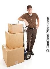 beau, homme, ou, livraison, déménageur
