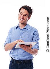beau, homme, utilisation, a, tablette numérique