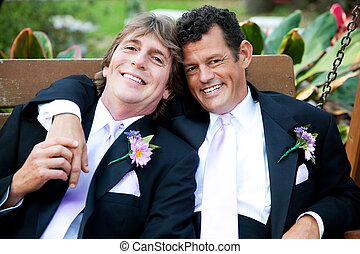 beau, hommes, jour, gay, mariage