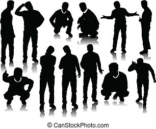beau, hommes, silhouettes