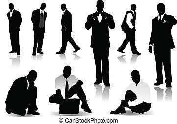 beau, hommes, silhouettes