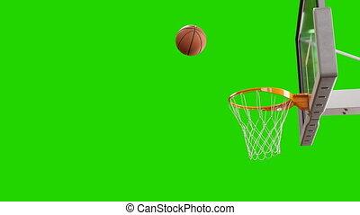 beau, hoop., uhd, lent, concept., voler, screen., balle, mouvement, rotation, animation, vert, 4k, professionnel, panier, filet basket-ball, sport, jeter, 3840x2160., 3d