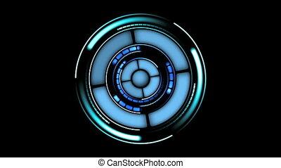 beau, hud, data., cercles, 1920x1080., concept, futuriste, head-up, élevé, rotation., entiers, technologie, hd, informatique, exposer, element.