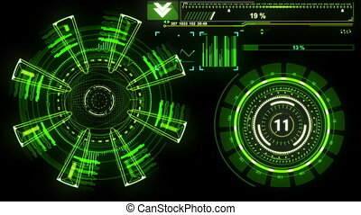 beau, hud, data., informatique, cible, 1920x1080., concept, futuriste, head-up, élevé, rotation., entiers, radar, element., technologie, exposer, hd, scanner