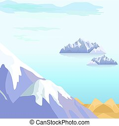 beau, icebergs, vecteur, paysage, mer