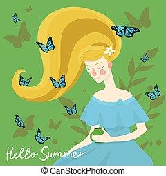 beau, illustration., elle, papillons, vecteur, head., girl