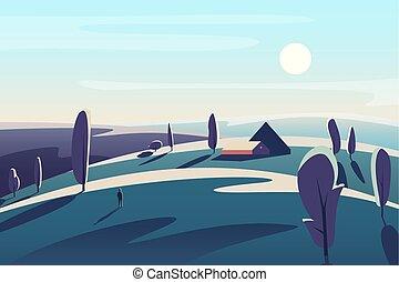 beau, illustration., maison, champs, résumé, minimalistic, vecteur, village, prés, paysage