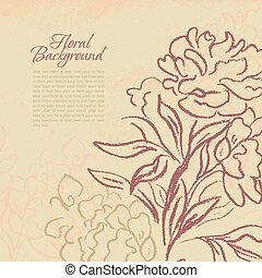 beau, illustration., pivoine, vendange, main, arrière-plan.,...