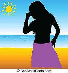 beau, illustration, vecteur, paradis, girl, plage