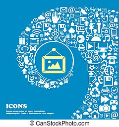 beau, image, ensemble, centre, icônes, tordu, spirale, une, grand, vecteur, icon., gentil, icône