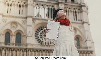 beau, image, peu, elle, notre, paris, sourire., france.,...