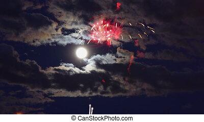 beau, indépendant, entiers, mouvement, feux artifice, lune, ...