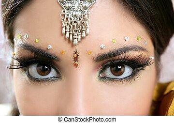beau, indien, brunette, portrait femme