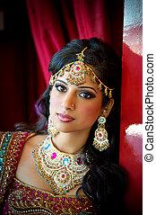 beau, indien, mariée