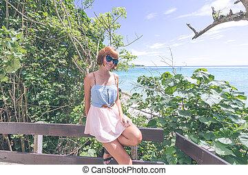 beau, indonesia., lembongan, nusa, portrait, close-up., girl, bali