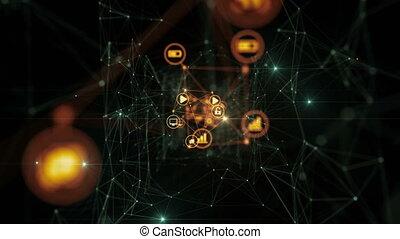 beau, information, fait boucle, animation., réseau, espace, voler, résumé, global, lights., ultra, connecté, hd, numérique, icônes, 4k, technologie, concept., 3840x2160., 3d