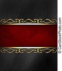 beau, insertion, or, modèle, arrière-plan noir, rouges