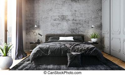 beau, intérieur, 3d, render, chambre à coucher