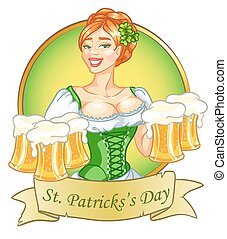 beau, irlandais, bière, girl