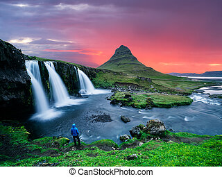 beau, islande, -, la plupart, chute eau, kirkjufellsfoss