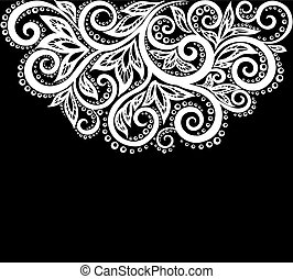 beau, isolated., feuilles, noir, monochrome, fleurs blanches
