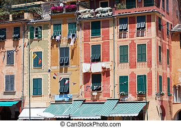 beau, italie, coloré, portofino, façades, maisons, village, typique