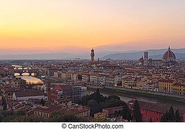beau, italie, sur, coucher soleil, florence, arno rivière
