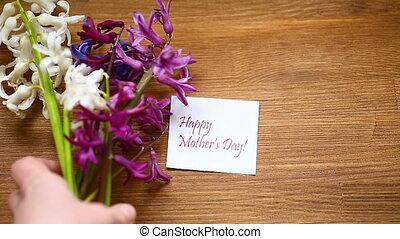 beau, jacinthe, félicitations, printemps, maman, fleurs