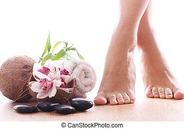 beau, jambes, et, différent, spa, articles