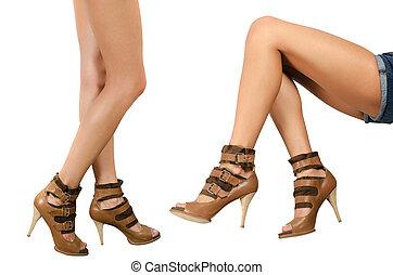 beau, jambes, femail