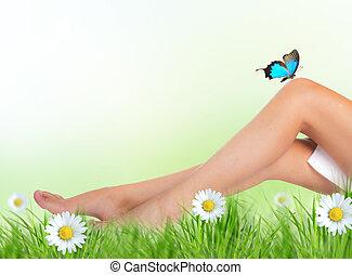 beau, jambes, femme, herbe