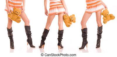beau, jambes, filles, bears.
