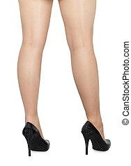 beau, jambes, noir, chaussures, femme