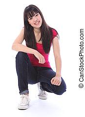 beau, japonaise, adolescent, étudiant, girl, heureux
