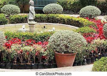 beau, jardin anglais, nature
