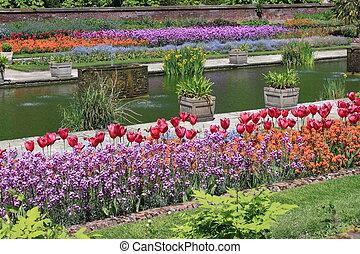 beau, jardin, formel