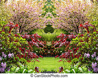 beau, jardin, printemps