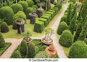 beau, jardin, walkway