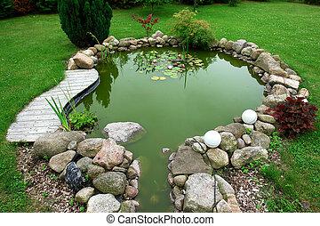 beau, jardinage, jardin, classique, fish, puits, cared, ...