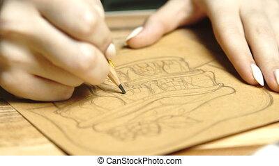 beau, jeune, 60, girl, kraftpaper, statique, lent, fonctionnement, coup, indépendant, esquisser, lifestyle:, home., concepteur, nourriture, illustration, mains, gros plan, artiste, mouvement, fps., dessin