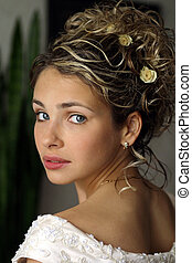 beau, jeune adulte, mariée