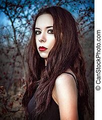 beau, jeune, arbres, closeup, portrait, girl