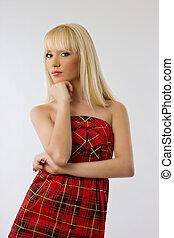 beau, jeune, blond, robe, girl, rouges