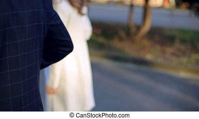 beau, jeune couple, marche, dans, ensoleillé, automne, parc