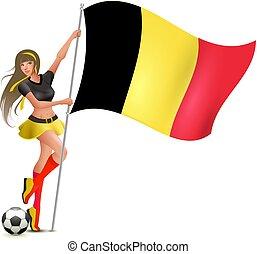 beau, jeune, drapeau, tenue, belgique, girl