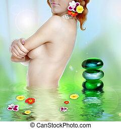 beau, jeune femme, dans, eau, à, stylisé, spa, pierres, et, fleurs